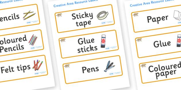 Jaguar Themed Editable Creative Area Resource Labels - Themed creative resource labels, Label template, Resource Label, Name Labels, Editable Labels, Drawer Labels, KS1 Labels, Foundation Labels, Foundation Stage Labels