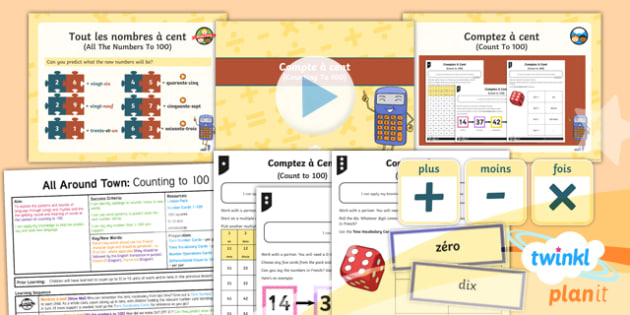 French: All Around Town: Counting to 100 Year 4 Lesson Pack 4