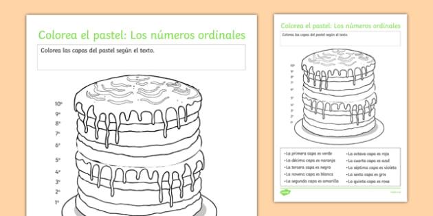 Colorea el pastel: Los números ordinales Ordinal Numbers Worksheet / Activity Sheet Spanish - spanish, Ordinal numbers, números ordinales, ficha, worksheet, colours