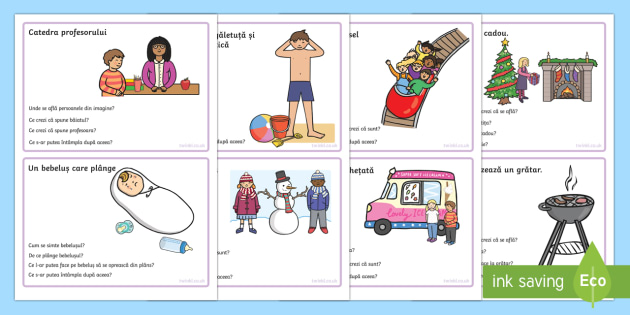 Deducție - Cartonașe ilustrate cu întrebări
