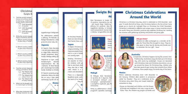Christmas Celebrations Around the World Differentiated Comprehension Polish/English - Australian World Celebrations, Christmas, celebrations, Santa,Australia-translation