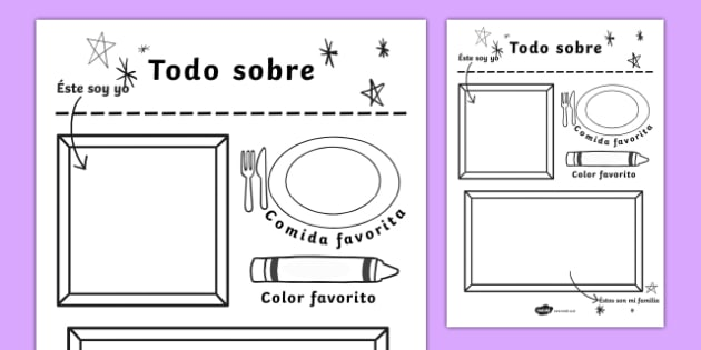 All About Me Colouring and Drawing Worksheet Spanish-Spanish