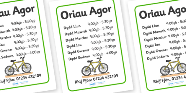 Amseroedd Agor Siop Feiciau - Welsh, Wales, bicycle, foundation, display, banner, sign, bike, opening times, times, open, shop, repair, poster, languages, cymru