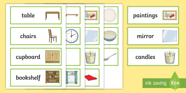 Dining Room Word Cards