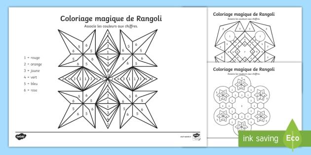 new feuille dactivits coloriage magique de rangoli - Coloriage Magic