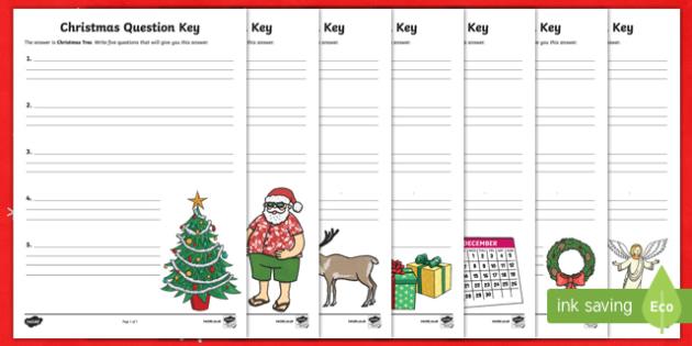 Christmas Question Keys Activity Sheet-Australia