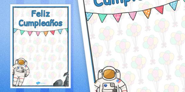Spanish Happy Birthday Posters Space Themed - spanish, display