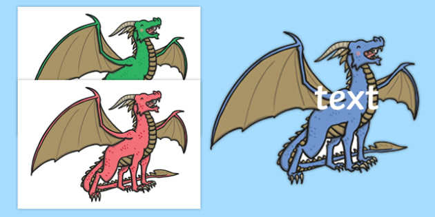Editable Dragons - Dragons, dragon, display, editable, label, topic, story, Castles and Knights, maiden, castle, tower, dragon, sword, horse, flag, shield, dungeon