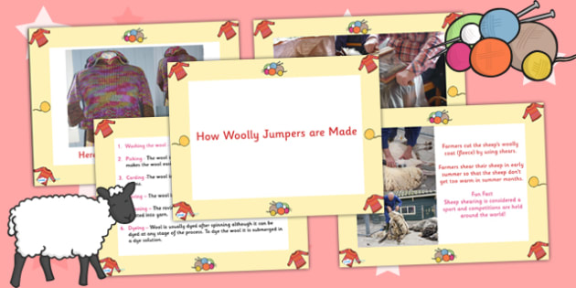 How Woolly Jumpers are Made PowerPoint - clothes, clothing, ppt