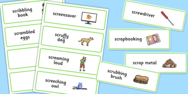 Three Syllable SCR Word Cards - speech sounds, phonology, articulation, speech therapy, cluster reduction, complex clusters, three element clusters