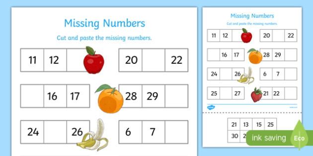 Missing Numbers to 30 Worksheet / Worksheet - missing numbers, 20 ...