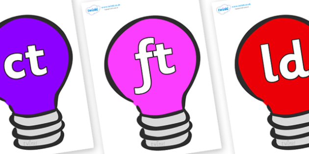Final Letter Blends on Lightbulbs (Multicolour) - Final Letters, final letter, letter blend, letter blends, consonant, consonants, digraph, trigraph, literacy, alphabet, letters, foundation stage literacy