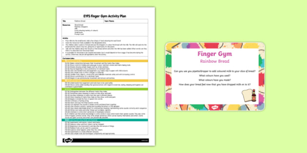 EYFS Rainbow Bread Finger Gym Plan and Prompt Card Pack