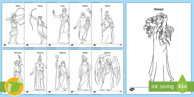 Hojas de colorear: Dioses romanos - Roman Spain, Ancient Rome