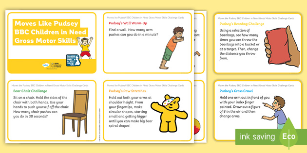Moves like Pudsey! Gross Motor Skills Challenge Cards