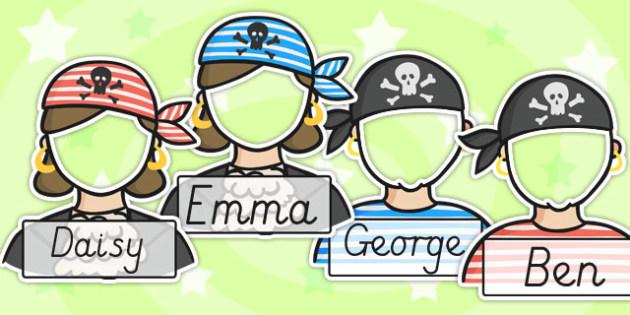 Editable Pirate Photo Self Reg Labels - pirate, self registration