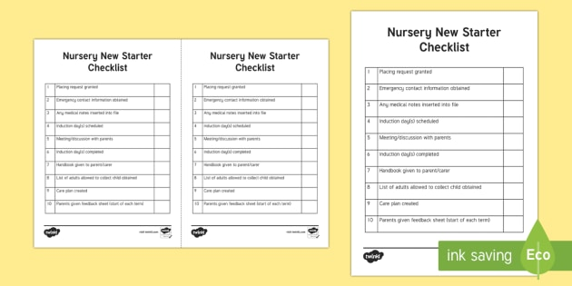 nursery new starter checklist requests cfe nursery early