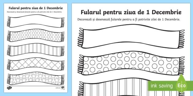 Fularul Pentru 1 Decembrie Decorează și Colorează Ziua