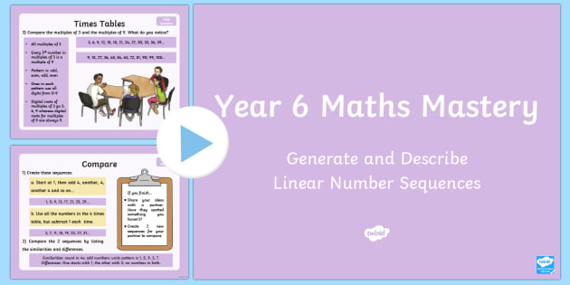 Year 6 Algebra Generate and Describe Maths Mastery Activities PowerPoint