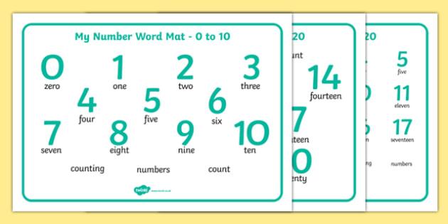 Worksheet Numbers In Words numbers and words 0 20 word mat 10 0