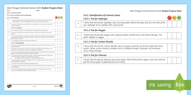 AQA (Trilogy) Unit 5.8 Chemical Analysis Student Progress Sheets