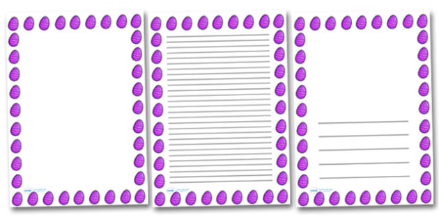 Purple Striped Easter Egg Portrait Page Borders- Portrait Page Borders - Page border, border, writing template, writing aid, writing frame, a4 border, template, templates, landscape