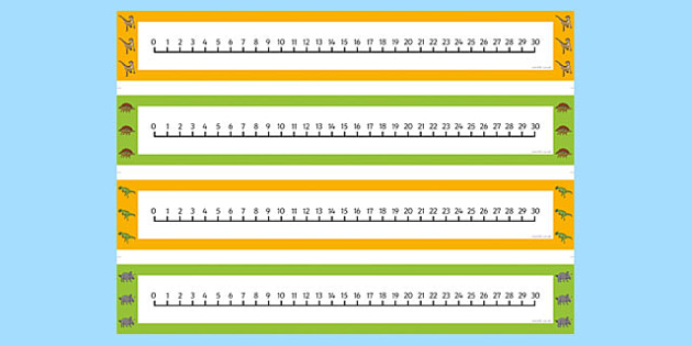Realistic Dinosaurs Number Lines 0 30 - dinosaur, number lines