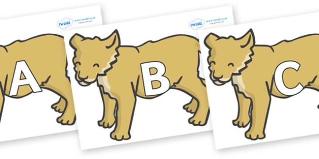 A-Z Alphabet on Puppy - A-Z, A4, display, Alphabet frieze, Display letters, Letter posters, A-Z letters, Alphabet flashcards