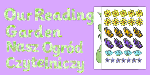 Our Reading Garden Paper-Saving Display Lettering Polish Translation - polish, Read, Letters