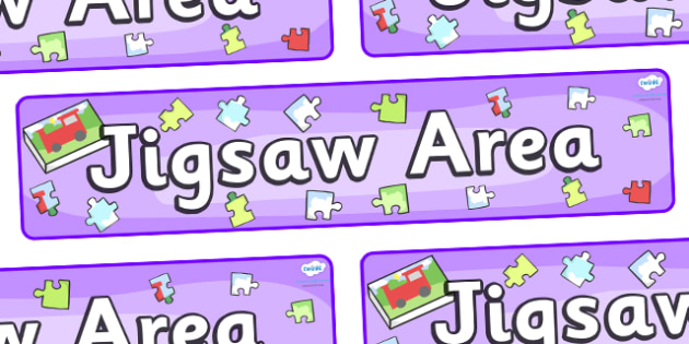 Jigsaw Area Display Banner - jigsaw area, puzzle area, jigsaw, classroom signs, classroom banner