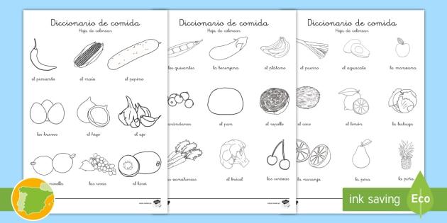 NEW * Hojas de colorear: Diccionario de comida - alimentos