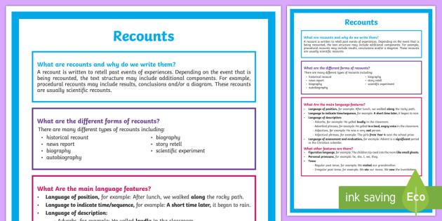 What is a Recount? A4 Display Poster - Literacy, What is a Recount?  A4 Display Poster, recount poster, poster, writing, english, text type