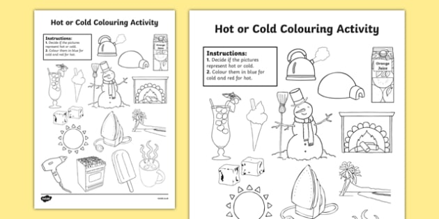 Hot or Cold Colouring Activity Sheet - hot or cold, colouring, colour, activity, temperature, worksheet