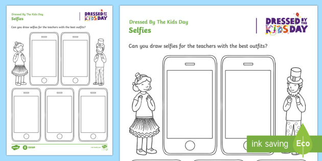dressed by the kids day selfies worksheet activity sheet oxfam organised. Black Bedroom Furniture Sets. Home Design Ideas