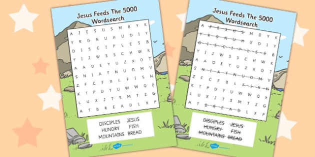 Jesus Feeds the 5000 Bible Story Differentiated Wordsearch - word