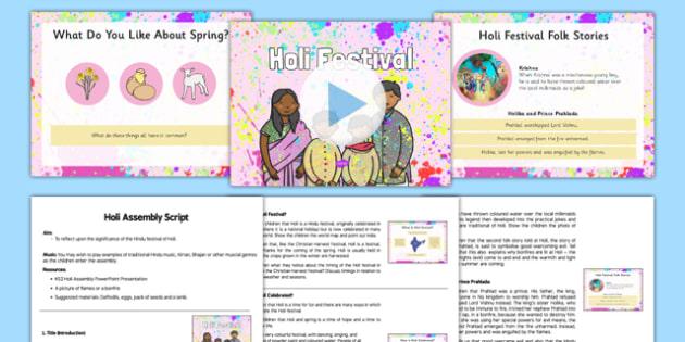 Holi Assembly Pack - Holi, Hindu, ks2, holi festival, key stage 2, hinduism, religious, event