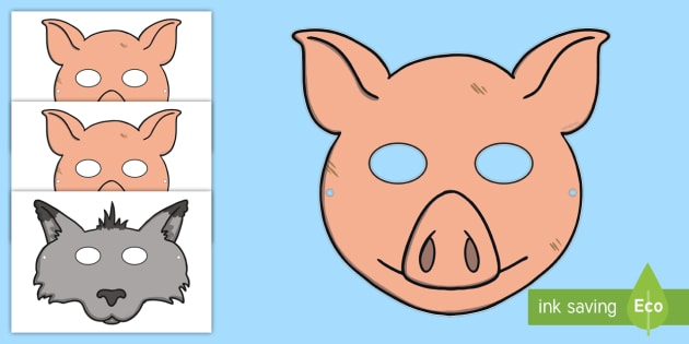 image about Printable Pig Mask identify The A few Small Pigs Tale Function Participate in Masks - Twinkl