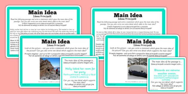 Guided Reading Skills Task Cards Main Idea Romanian Translation - romanian, guided reading