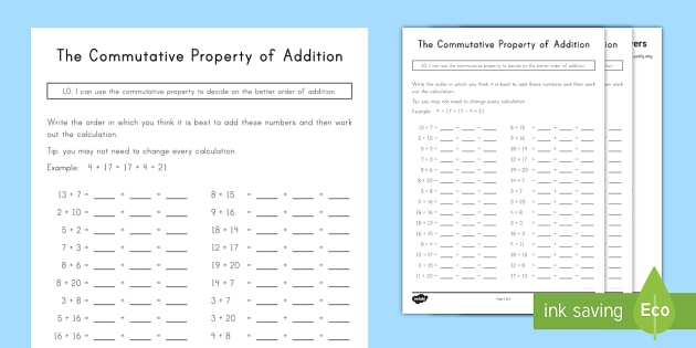 Commutative Property Of Addition Worksheet Activity Sheet