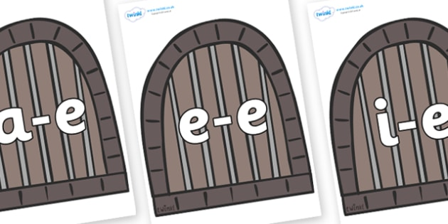 Modifying E Letters on Jail Cells - Modifying E, letters, modify, Phase 5, Phase five, alternative spellings for phonemes, DfES letters and Sounds