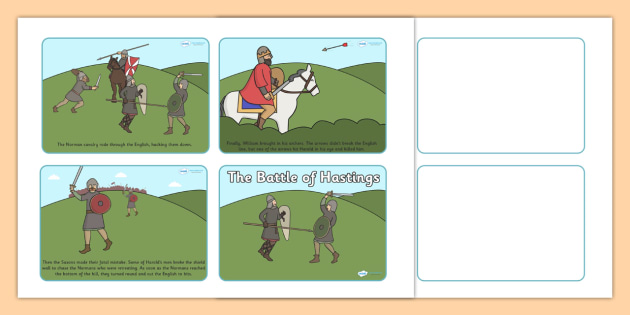 The Battle of Hastings Story Sequencing (4 per A4) - The Battle of Hastings, English, Normans, battle, sequencing, story sequencing, story resources, A4, cards, 4 per A4, Saxons, Harold, William, sword, archer, retreat, cavalry, arrow, eye