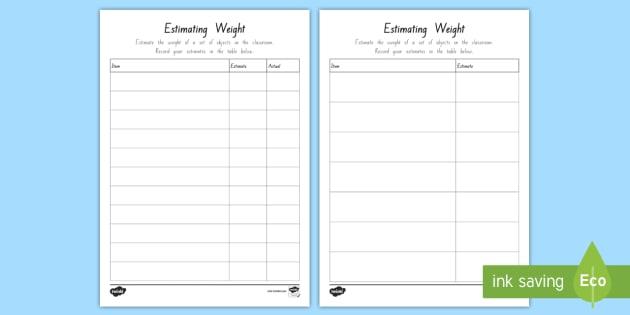 estimating weight worksheet activity sheet weight measures grams. Black Bedroom Furniture Sets. Home Design Ideas