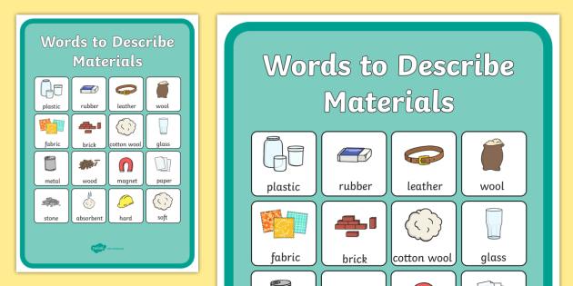 72edca7a818aae Materials Vocabulary Poster - materials