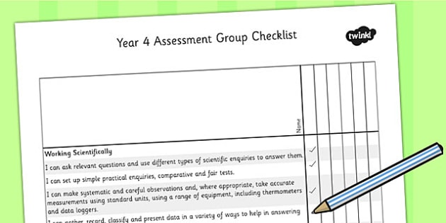 2014 National Curriculum Year 4 Science Assessment Group Checklist - target