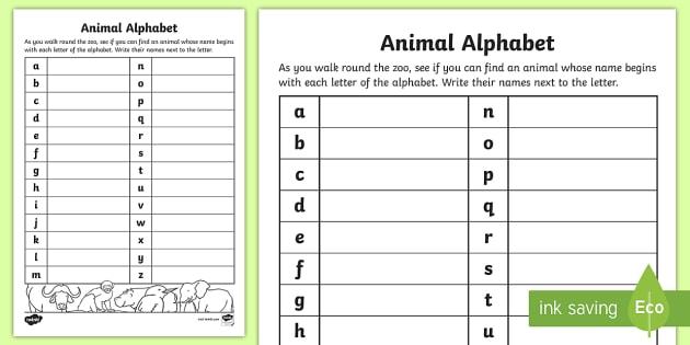 Animal Alphabet Worksheet / Worksheet (teacher Made)