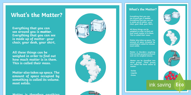 What's the Matter? A4 Display Poster - Australia Science, chemical science, australian curriculum, matter, solid, liquid, gas, solid liquid