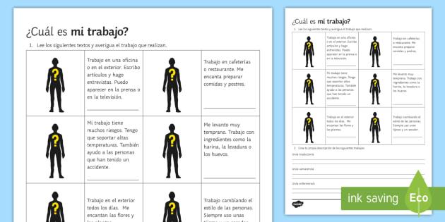 Guess the Job Worksheet / Worksheet Spanish - Spanish Vocabulary, jobs