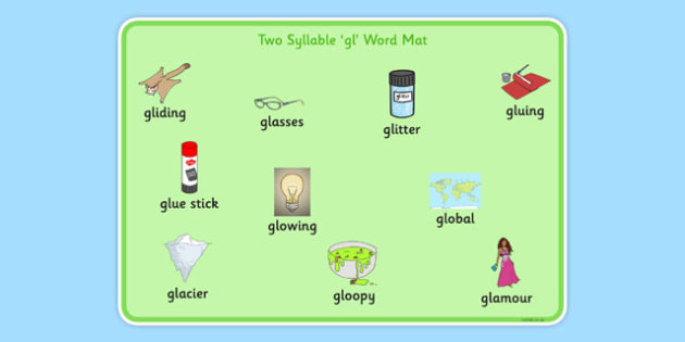 Two Syllable GL Word Mat - sen, sound, gl sound, gl,  two syllable, word mat