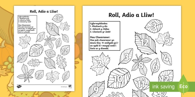 Rholio a Lliwio Dis Dail Yr Hydref Taflen Weithgaredd Gwahaniaethol - rholio, lliwio. dis, dail, Hydref, roll, colour, dice, leaves, autumn, mathemateg, mathematics, Cynr