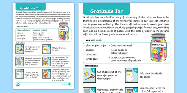 Free Wellbeing Gratitude Jar Craft Instructions